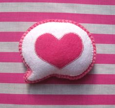 Sale - Felt Plush Valentine Pink Love Heart Speech Bubble 30% Off With Code. $12.00, via Etsy.