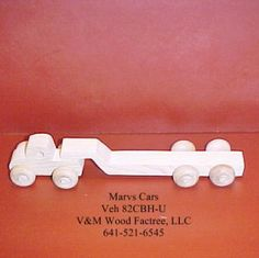 Handcrafted Wood Toy Semi Tractor and Flat Bed Trailer 82CBH-U unfinished or finished by VMWoodFactree for $3.96