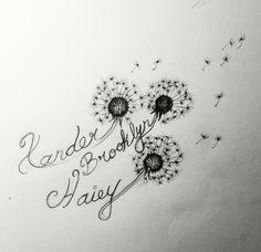 Dandelion sketch for my tattoo client. Dandelion tattoo by Tisha Vaughn