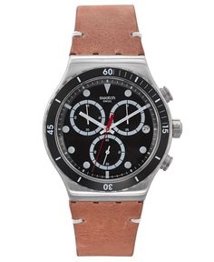 A Disorderly watch from Swatch's Tech Mode collection.   Brown leather strap   Round stainless steel case, 41mm, with black bezel   Black chronograph dial with silver-tone indices, three hands, three