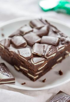Andes Mint Brownies - Super fudgy brownies loaded with Andes! Chocolate + mint is the best! Meet your new favorite brownies and so easy!!