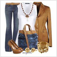 CHATA'S DAILY TIP: This is a perfect Casual-Friday outfit; the combination of tan, white and denim will turn heads! This style works for all body shapes i.e.: single breasted jacket, round neck top, tapered jeans. If you aren't a high heel person opt for stylish pumps in tan or rich chocolate brown. COPY CREDIT: Chata Romano http://chataromano.com/consultant/chata-romano/ IMAGE CREDIT: Beauty and Fashion's Facebook page