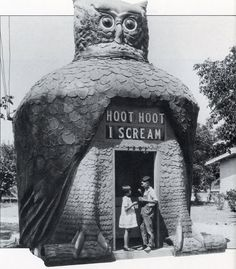 Hoot-Hoot I Scream was an actual structure built in 1927 on Valley Blvd in Rosemead. A year later it was moved to South Gate, in hopes of more business. In 1930, it was turned into a cafe and stayed in South Gate through World War II serving factory workers. After the war, the wrecking ball reduced the Hoot-Hoot Cafe to the history pages .