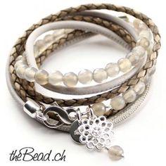 Lederarmbänder und Wickelarmbänder Perlenarmband by thebead ♥ Schmuck  online kaufen e88edeb805