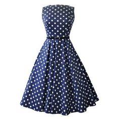 Navy Polka Dot Hepburn Dress