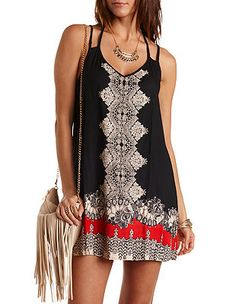 Scarf Print Strappy Shift Dress: Charlotte Russe