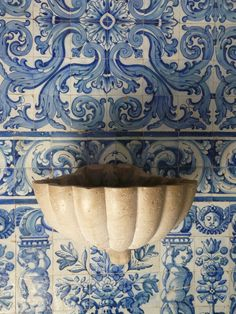 Beautiful blue and white tiled wall