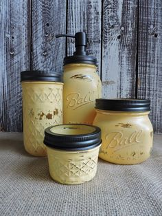 Mason Jar Bathroom Set, Sunflower Yellow Bath Set, Mason Jar Bath Set,  Yellow