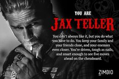 I took Zimbio's 'Sons of Anarchy' character quiz and I'm Jax Teller!null - Quiz Myhusband results. I totally agree. Sons Of Anarchy Characters, Sons Of Anarchy Samcro, Soa Characters, Brad Pitt, Jax Teller Quotes, Bobby Munson, Anarchy Quotes, Sons Of Anarchy Motorcycles, Thoughts