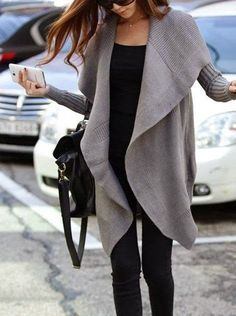#fall #fashion / gray knit cardigan