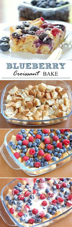 Croissant Bake A blueberry croissant bake makes for the best brunch snack. Pairs well with champagne and friends!A blueberry croissant bake makes for the best brunch snack. Pairs well with champagne and friends! What's For Breakfast, Christmas Breakfast, Christmas Brunch, Christmas Morning, Breakfast Fruit, Breakfast Croissant, Croissant French Toast, Raspberry Breakfast, Christmas Ideas