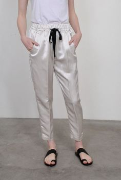 Giada Forte Viscose Linen Satin Jogging Pants
