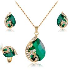 Jewelry Sets For Women Wedding Bridal Dress Accessories Water Drop Crystal Necklace Earrings Ring Set 18K Gold Plated Party 2016 - cubic zirconia jewelry
