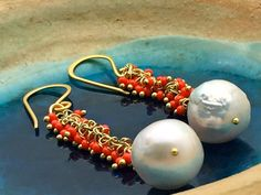 Cluster earrings - Baroque pearls and a coral red beads wire wrapped with vermeil on 24k over silver hook, Matana Jewelry, Gift idea