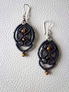 Macrame Jewelry, Macrame Bracelets, Bohemian Jewelry, Diy Jewelry, Handmade Jewelry, Macrame Earrings Tutorial, Earring Tutorial, Crochet Earrings, Crafty Fox