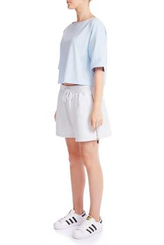 Cut from high quality light grey cotton terry. The comfortness is all we are after. Could be worn up as high-waist or down or a boyfriend shorts.