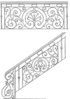 Railing Design Drawings: Inspirations For You Balcony Or Bannister Stair Railing Designs - Railing Designs - Wooden Staircase Railing, Outdoor Stair Railing, Wrought Iron Staircase, Iron Stair Railing, Metal Stairs, Stair Handrail, Staircase Design, Modern Railing, Steel Railing
