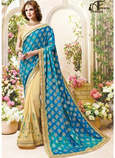 Blue Stones Lace Embroidery Georgette Saree
