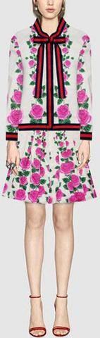 Floral-Print Web-Stripe Blouse & Pleated Mini Skirt Set