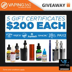 5 x $200 Vapor4life gift card giveaway