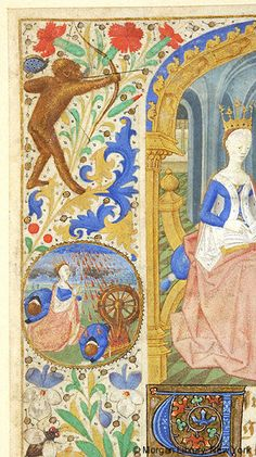 Monkey with bow and arrow | Book of Hours | France, possibly the Loire River Valley | ca. 1460 | The Morgan Library & Museum