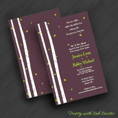 Special Event Wedding Invitations - Fairytale in the Woods Birch Tree - (Shown in Plum and Chartreuse)
