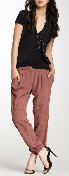 Comfy embroidered pants.