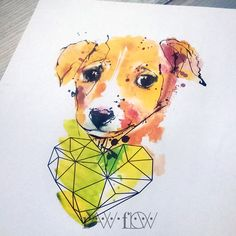 Dog tattoo portrait watercolor abstract - portrait of Amora (@dedrapella)