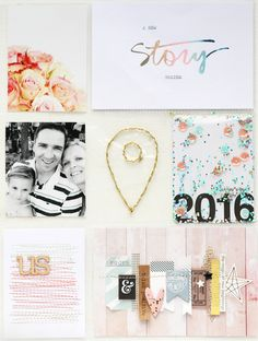 POCKET SCRAPBOOK LAYOUT ~ Love this title page for the start of her 2016 album and the photos of her family added in as well.