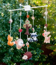 "Baby Mobile - Baby Crib Mobile - Woodland  Mobile - Nursery Baby Room ""Woodland Wonders"" (You can pick your colors). $78.00, via Etsy."