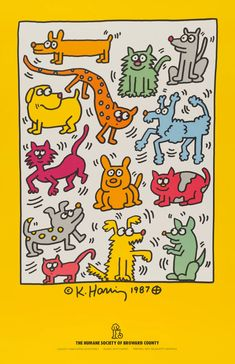 Keith Haring,The Humane Society of Broward County Fine Art reprint, Gallery Canvas wrap,(Custom Sizes Available Up To 60 inches) Keith Haring Poster, Keith Haring Prints, Keith Haring Art, Principles Of Art Unity, Banksy, Radiant Child, Arte Sketchbook, Silk Screen Printing, Humane Society