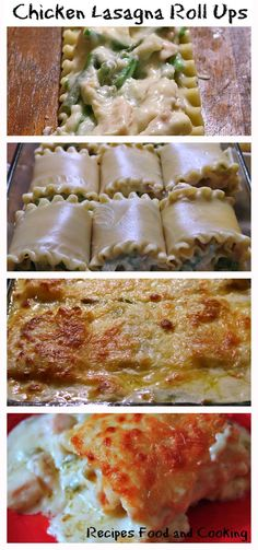 Chicken Lasagna Roll Ups with Asparagus Lasagna noodles filled with chicken, asparagus in a creamy cheese sauce. Chicken Lasagna Rolls, Chicken Alfredo Lasagna, Lasagna Noodles, Dinner Dishes, Pasta Dishes, Food Dishes, Quick Dinner Recipes, Snack Recipes, Cooking Recipes