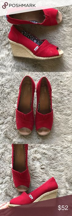 a55b53154db Toms Stella Wedge Red Toms Stella Wedge in a Womens size 7.  All garments