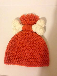 Flintstones Pebbles Beanie/ Character Hat by KnittedTreasuresTx, $10.00