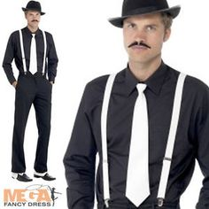 This is the look Bobby's going to rock:  Black shirt, Black pants, White suspenders & white tie with black and white spat shoes.  Maybe a gun holster across his back.  Hair slicked back.  Gangster Hat, Tie, Braces, Spats and Tash Fancy Dress Mens 1920s Costume Kit | eBay