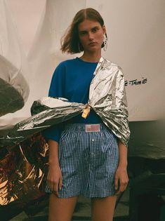 Giedre Dukauskaite by Nagi Sakai for Vogue Ukraine May 2018 - Top, Shorts Matthew Adams Dolan, Jewelry Balenciaga