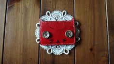 Red Colored Genuine Leather Cat Card Wallet by KimmysCraft on Etsy