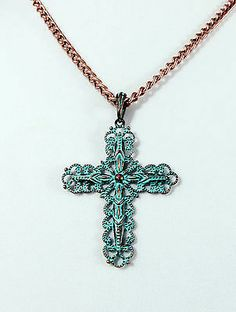COWGIRL Bling Western Turquoise Patina Copper CROSS filigree scroll Necklace set