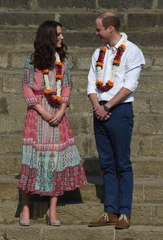 Kate Middleton and Prince William share a loving glance during their week-long tour of India and Bhutan.