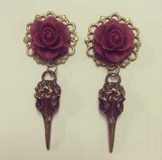 Red Rose Filigree Skull Ear Plugs by TeacupRose on Etsy, $28.00