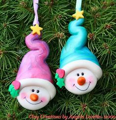 *POLYMER CLAY ~ Swirly Snowman Personalized Christmas Ornament- Pink/Purple