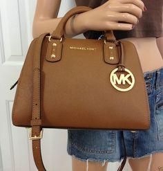 Michael Kors Brown Saffiano Leather Small Satchel MK Signature Crossbody Purse #MichaelKors #ShoulderBag