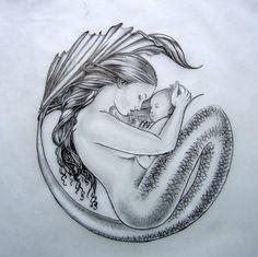 """dessin  d'après une oeuvre de Selina Fenech """"Motherhood""""    marqueur noir, crayon graphite. Shanon Jeurissen"""