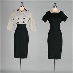 Vintage 1950s Dress  Black Linen   by millstreetvintage