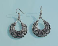 Ethnic tribal Vintage style Hoop style dangle metal design Indian earrings