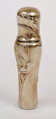 Perfume bottle in sterling silver with a bird motif, made in Spain for Tiffany & Co