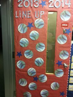 Baseball theme classroom | pictures will be hung here throughout the year