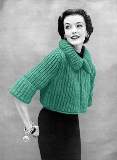 "Chunky Knit Bolero Sweater195434-38"" Bust Kindly shared by Marilyn from Musings from Marilyn Free 1950s Bolero Knitting Pattern Here"