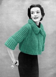 1950s Knitting - Chunky Knit Bolero Sweater