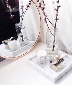"""""""Pretty in pink with our @bloomingville_interiors copper mirror and the last of these beautiful blossoms Discover our marble + copper edit online just…"""" More"""